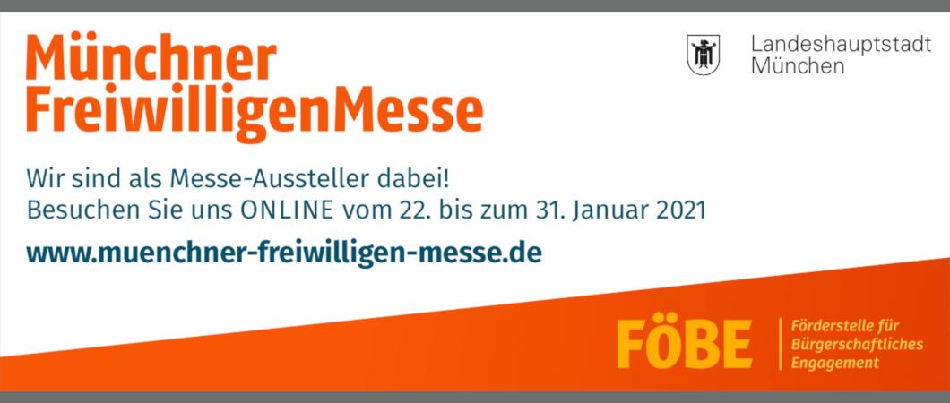 """Banner mit der Schrift """"Münchner Freiwilligen Messe"""""""